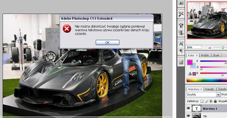 Obraz dołączony do pytania Pomózcie  nie moge dodać tekstu w Photoshp CS3mam taki komunikat robie wszystko według filmiku i klapa