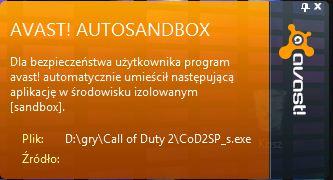 Obraz dołączony do pytania Czemu AVAST!(darmowy)san'dboksuje mi call of dudy 2 skoro on nie jest zawirusowany?