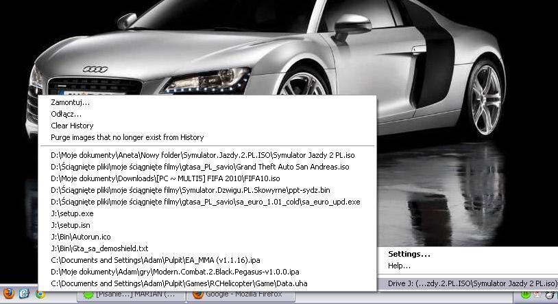 Obraz dołączony do pytania Cześć mam problem Wirtual clone narobiło mi się dysków jak je usunąć chcę tylko GTA oto jak wyglądają ustawienia