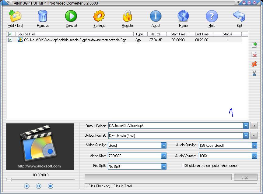 Obraz dołączony do pytania Jak skonwertować film programem Alock 3gp psp mp4 ipod viedeo convert?